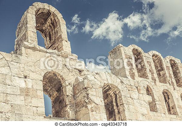 Amphitheater in Acropolis, Athens Greece - csp43343718