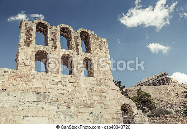 Amphitheater in Acropolis, Athens Greece - csp43343720
