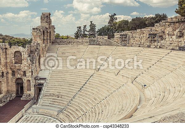Amphitheater in Acropolis, Athens Greece - csp43348233