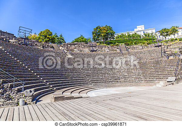 amphitheater of the Three Gauls in Fourviere above Lyon France - csp39961871