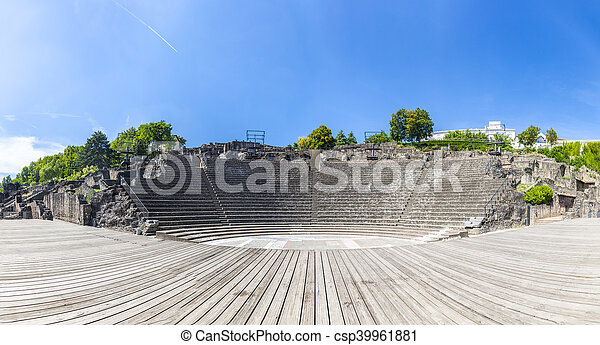 amphitheater of the Three Gauls in Fourviere above Lyon France - csp39961881