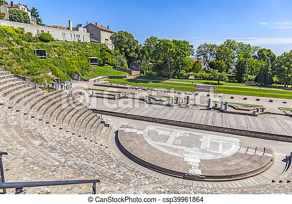 Amphitheater of the Three Gauls in Fourviere above Lyon France - csp39961864