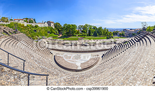 Amphitheater of the Three Gauls in Fourviere above Lyon France - csp39961900