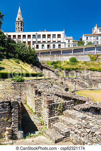 Amphitheatre of the Three Gauls in Lyon, France - csp62321174