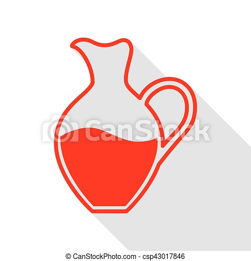 Amphora sign. Red icon with flat style shadow path. - csp43017846