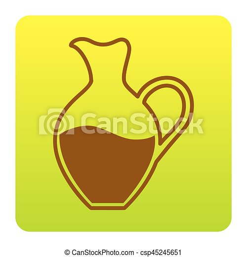 Amphora sign. Vector. Brown icon at green-yellow gradient square with rounded corners on white background. Isolated. - csp45245651