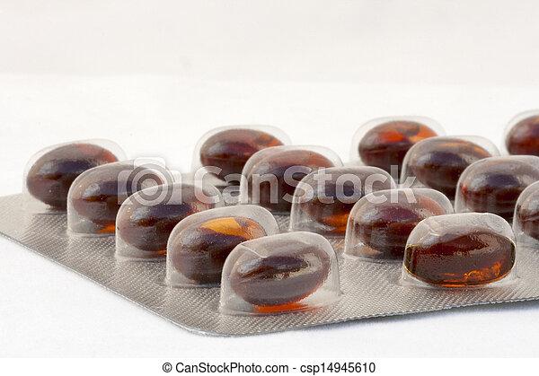 Blister de cápsulas gelatinosas marrón - csp14945610