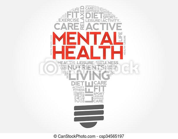 ampoule, mot, santé, mental, nuage - csp34565197