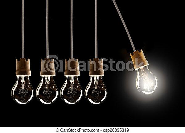 ampoules, lumière, une, unique, shinning, rang - csp26835319