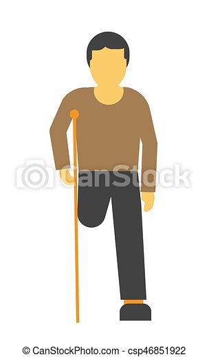 Amputee faceless person on crutches vector illustration isolated on white - csp46851922