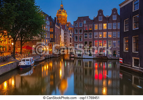 Amsterdam at night - csp11769451