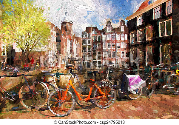 Amsterdam city in Holland, artwork in painting style - csp24795213