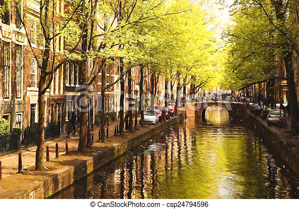 Amsterdam city in Holland, artwork in painting style - csp24794596