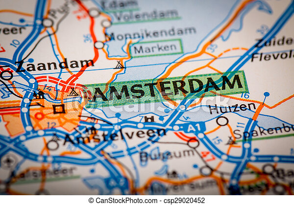 amsterdam city on a road map csp29020452