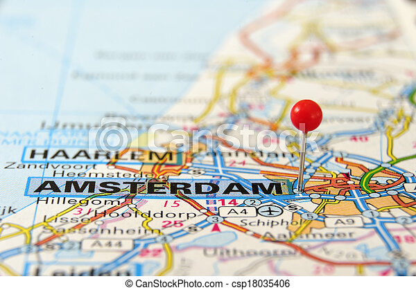 Amsterdam Map Amsterdam Netherlands Europe Push Pin On An Old