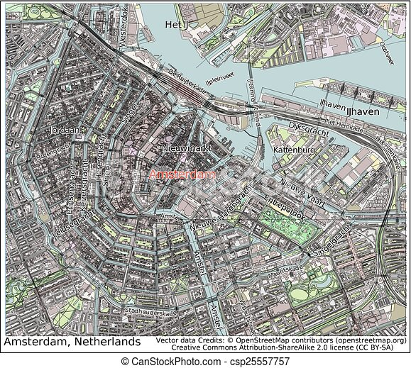 Amsterdam netherlands city map aerial view clipart vector Search
