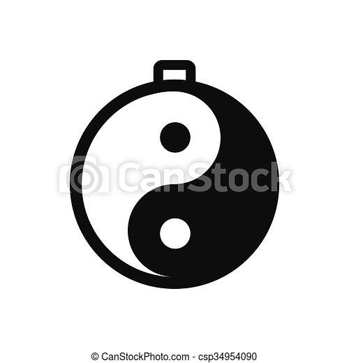 Amuleto Yang De Yin Icono Estilo Simple Yin Aislado Amuleto