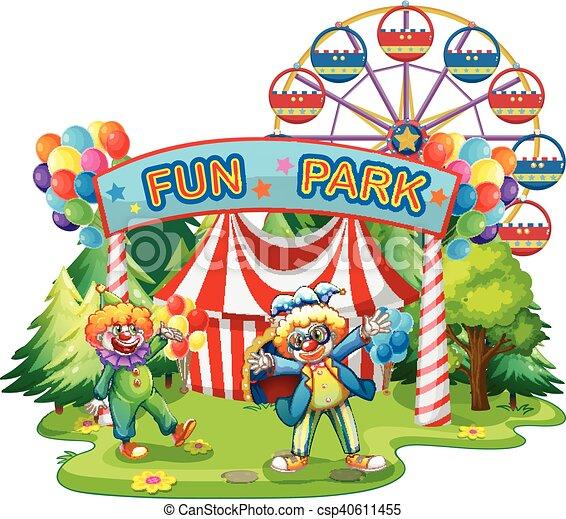 amusement, clowns, parc, deux - csp40611455