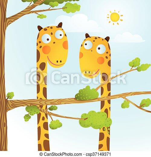 Amusement Gosses Animaux Dessin Animé Girafe Bébé Sauvage Dessin