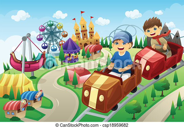 amusement, gosses, parc, avoir, amusement - csp18959682