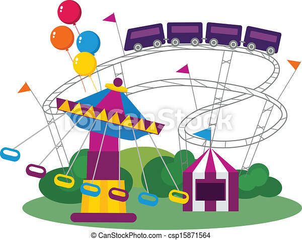 illustration of an amusement park isolated on white clip art rh canstockphoto com clip art parking spaces clip art parking spaces