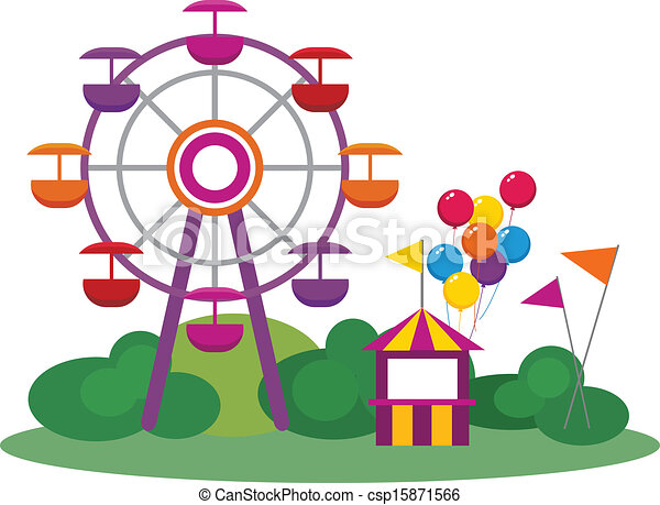 illustration of an amusement park isolated on white clip art rh canstockphoto com clip art parking clip art party