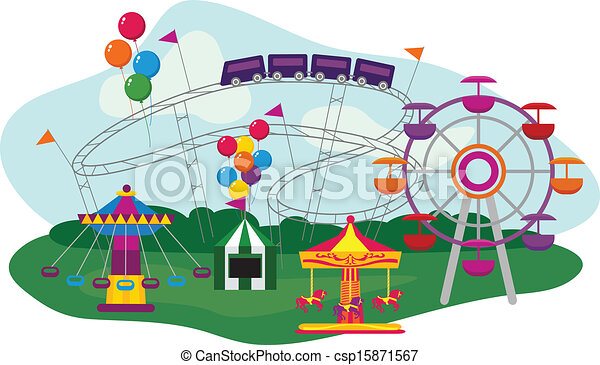 illustration of an amusement park isolated on white background rh canstockphoto com amusement park clipart map amusement park clipart images