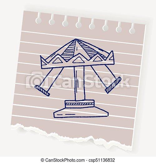 amusement park doodle - csp51136832