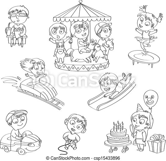 Amusement Park Set Children Ride On The Carousel Little