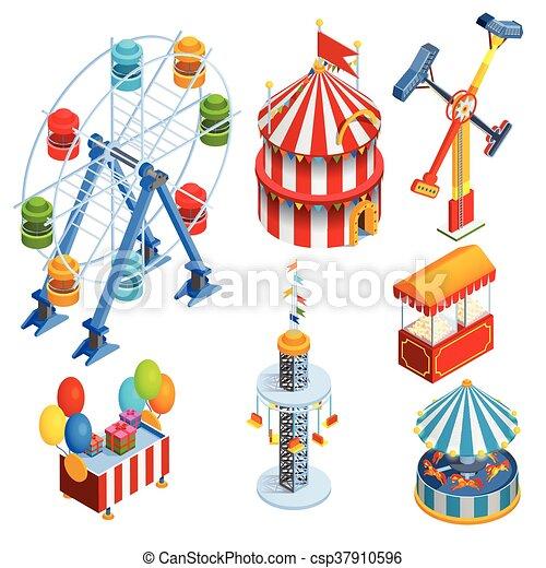 amusement park isometric decorative icons set with ferris eps rh canstockphoto com amusement park clipart free amusement park rides clipart black and white