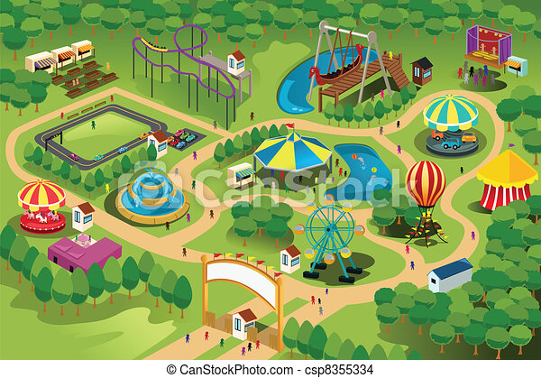 Amut park map. A vector illustration of a map of an amut park. Draw Site Map on