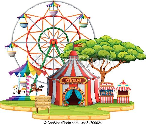illustration of amusement park scene at daytime vector illustration rh canstockphoto ca amusement park clip art free amusement park rides clipart black and white