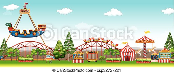 Amusement park with many rides - csp32727221