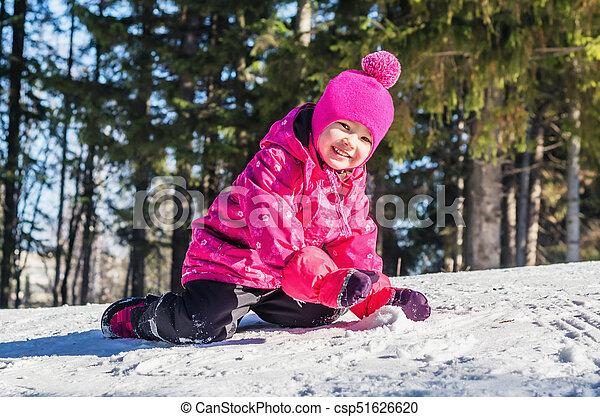amusement, peu, neige, girl, avoir - csp51626620
