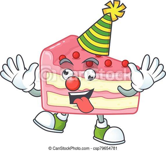 amuser, style, fraise, dessin animé, gâteau, mascotte, clown, couper, caractère - csp79654781