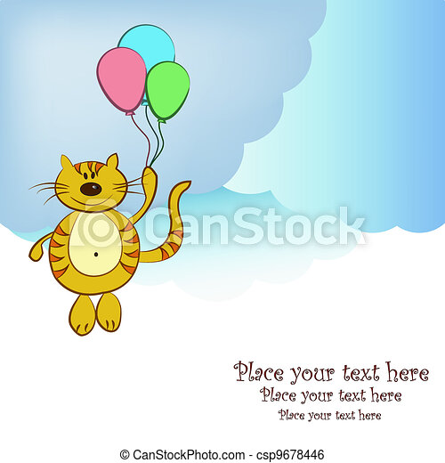 Amusing flying cat with balloons - csp9678446