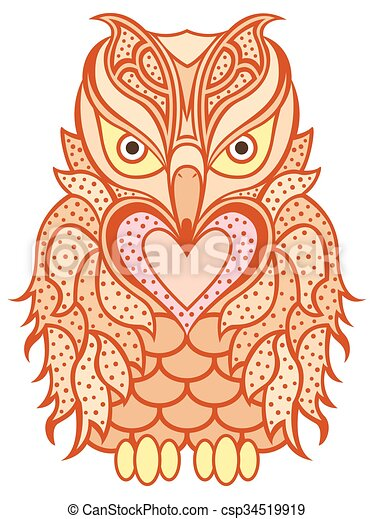 Amusing orange beaky owl - csp34519919