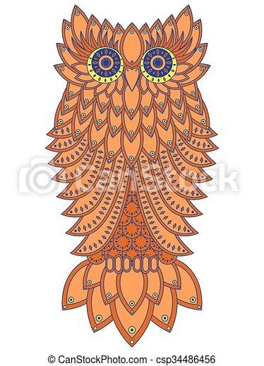 Amusing orange owl - csp34486456