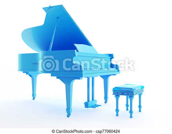an abstract blue grand piano - csp77060424