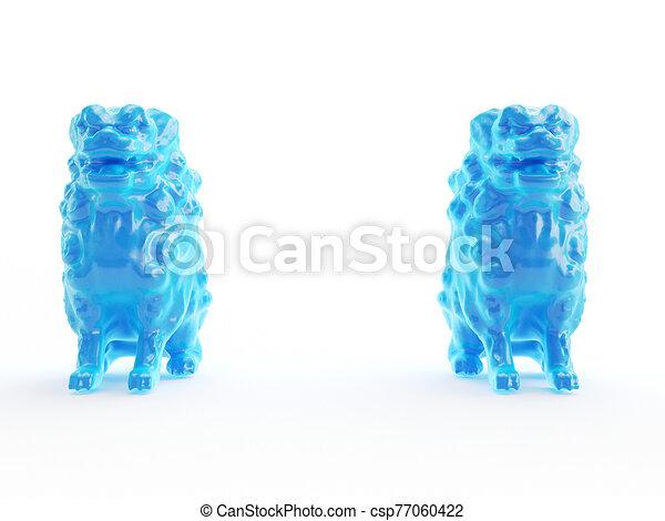 an abstract blue lion statue - csp77060422