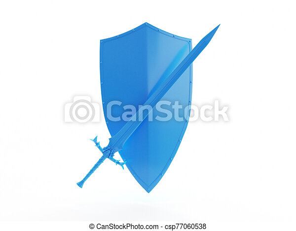 an abstract blue shield and sword - csp77060538