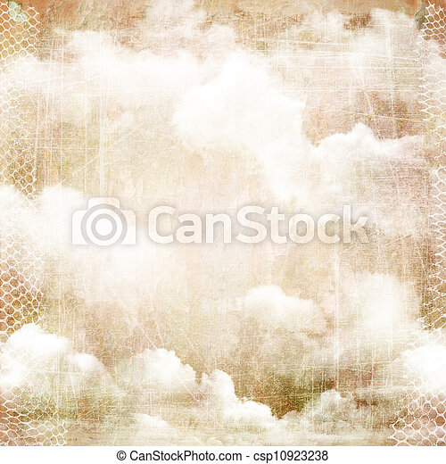An abstract vintage texture background with clouds. - csp10923238