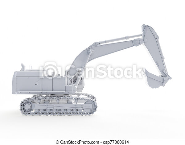 an abstract white excavator - csp77060614