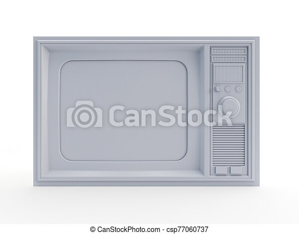 an abstract white old television - csp77060737