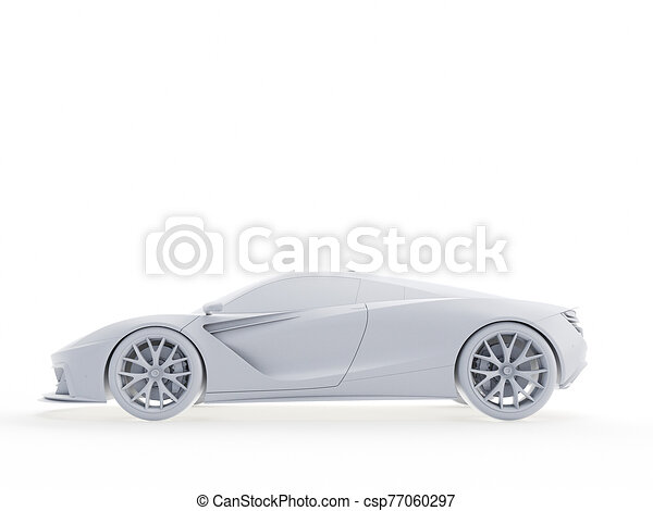 an abstract white sports car - csp77060297