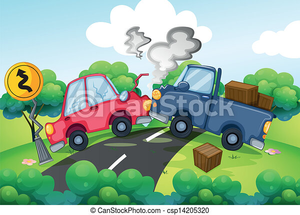 An accident at the road. Illustration of an accident at the road.