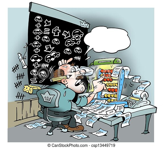 An accounting man with lots of calculations - csp13449719