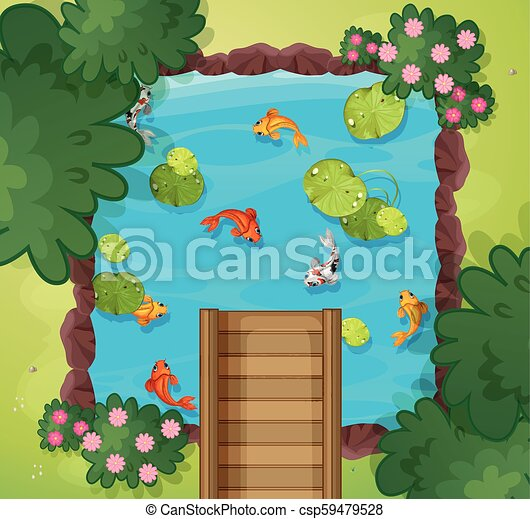 An aerial view of fish pond - csp59479528
