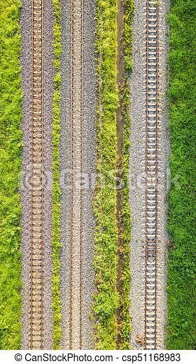 An aerial view of Railroad tracks - csp51168983
