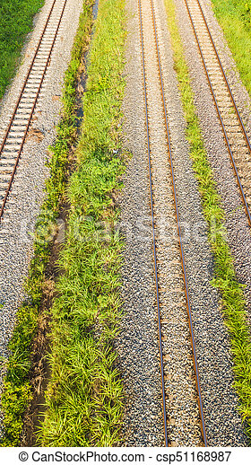 An aerial view of Railroad tracks - csp51168987